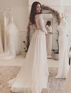 Hochzeitskleid Spitze Rückenfrei : a linie v ausschnitt lange rmel r ckenfrei chiffon hochzeitskleid mit spitze ~ Frokenaadalensverden.com Haus und Dekorationen