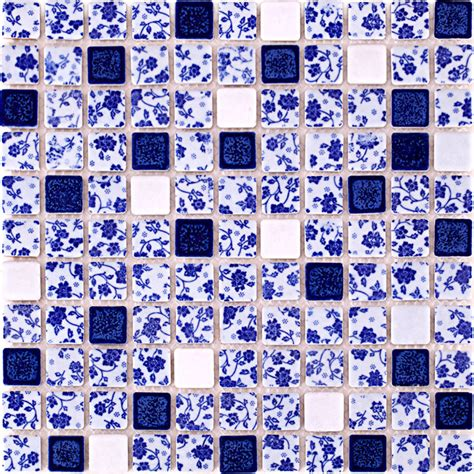 blue  white tile glossy porcelain mosaic bathroom tiles