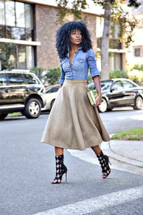 Style Pantry | Fitted Denim Shirt + Quilted Midi Skirt