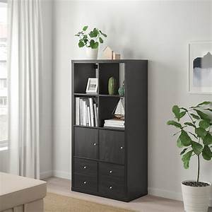 Kallax, Shelving, Unit, With, 4, Inserts, -, Black-brown