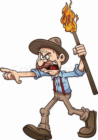Clipart Farmer Angry Clip Cartoon Vector Torch