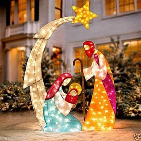 Outdoor Lighted Nativity by 73 Quot Lighted Pre Lit Nativity Holy Family