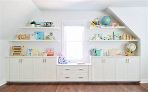 adding built ins white floating shelves around a window With kitchen colors with white cabinets with wall art for kids playroom