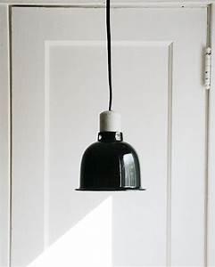 Industrial chic pendant light vintage black enamel