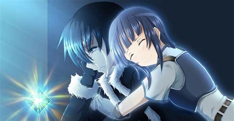 romance girl hugging crying boy   anime love