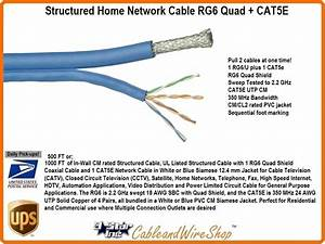 Bundled Cable Network Wiring  1 Rg6 Quad Shield  1 Cat5e 1000ft