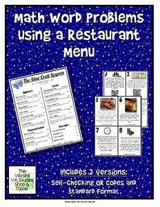 Math Word Problems Using a Restaurant Menu | TpT