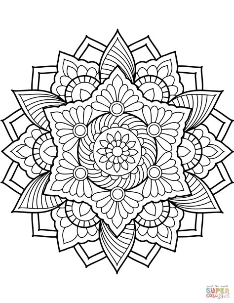 Flower Mandala coloring page from Floral mandalas category. Select from 29500 printabl… (With