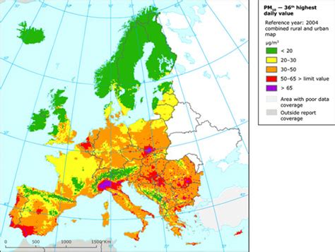 Carte Pollution Europe by Air Pollution By Particulate Matter Pm In Europe 2004