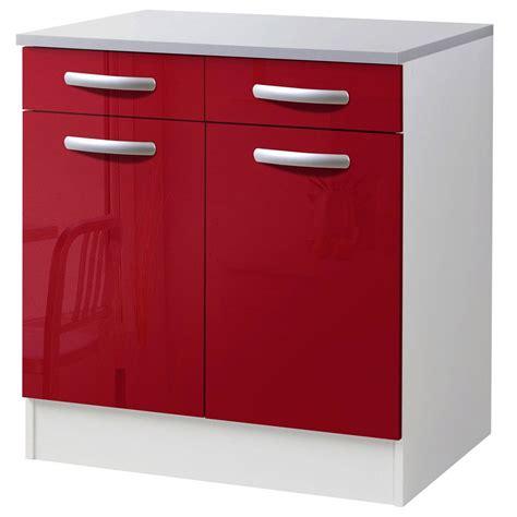 meuble de cuisine bas 2 portes 2 tiroirs brillant h86x l80x p60cm leroy merlin