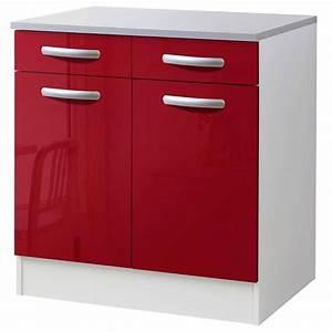 But Meuble De Cuisine : meuble de cuisine bas 2 portes 2 tiroirs rouge brillant ~ Dailycaller-alerts.com Idées de Décoration
