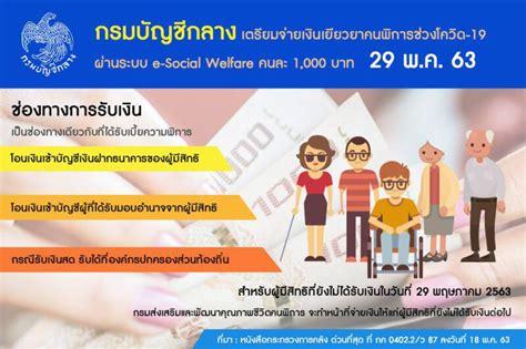 เตรียมจ่ายเงินเยียวยาคนพิการ ผ่านระบบ e-Social Welfare ...