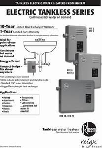 Rheem Water Heater Rte 13 Users Manual Rr106rev3