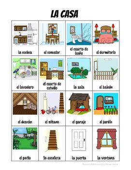 spanish house vocabulary picture notes set  spanish