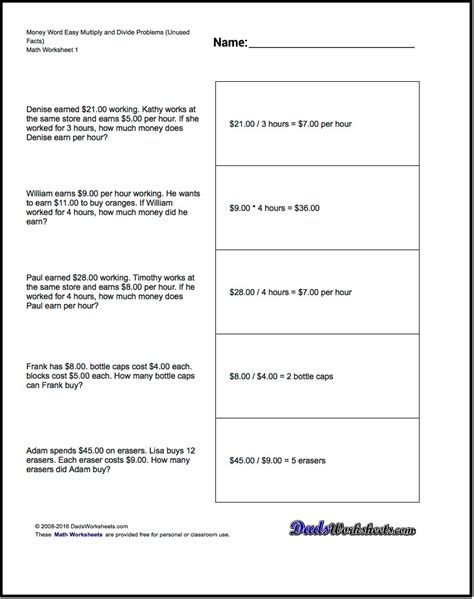 money word problems math worksheets ks facts easy