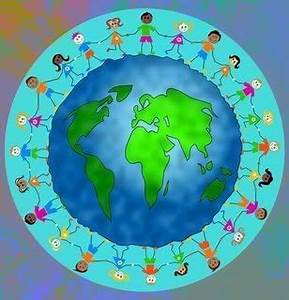World Peace People Holding Hands around the Earth Children ...