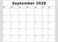 September 2028 Calendar Month