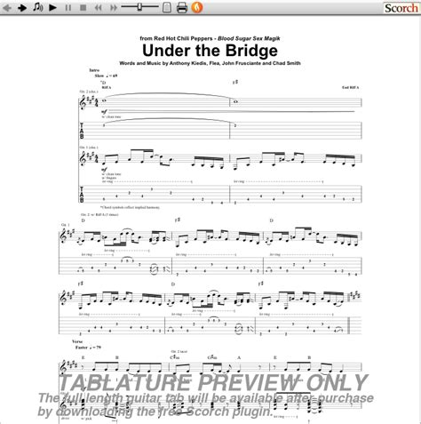 red hot chili peppers under the bridge guitar tab free