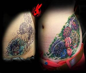 Colorful Flower Cover-up Tattoo by Jackie Rabbit by ...