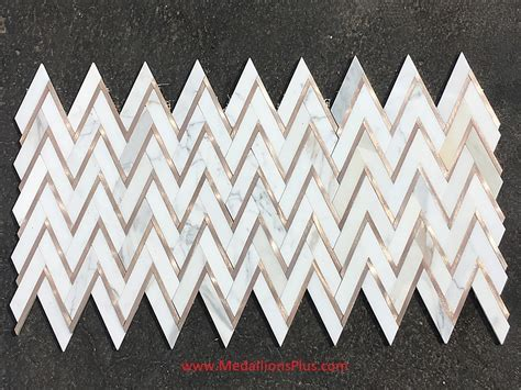 Calacatta Gold Marble & Rose Gold Herringbone Polished