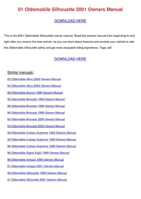 free download parts manuals 1999 oldsmobile alero user handbook 01 oldsmobile silhouette 2001 owners manual by wadetremblay issuu