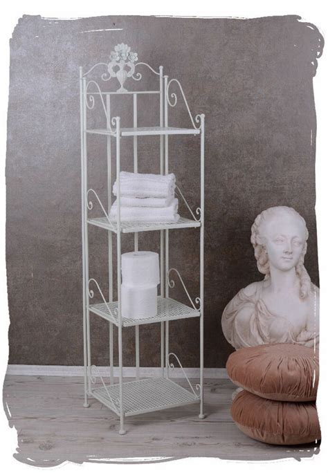 regal shabby chic badezimmerregal landhaus weiss regal antik eisenregal shabby chic ebay