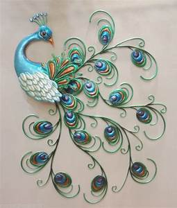 Pretty peacock wall art decor metal colorful hanging bird