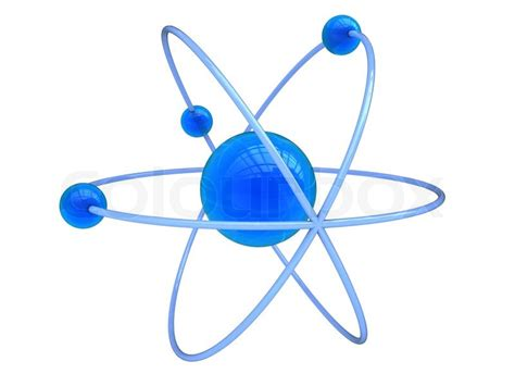 Abstract 3d illustration of blue atom symbol, over white