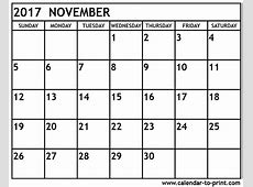 2018 November Calendar Printable Pdf Free Printable