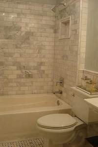 Carrera marble subway tiles transitional bathroom for Marble subway tile bathroom