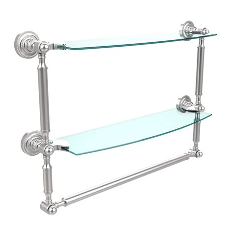 Delta Bathroom Glass Shelf by Delta Cassidy 18 In Glass Bathroom Shelf With Towel Bar