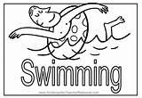 Coloring Swimming Pool Swim Word sketch template