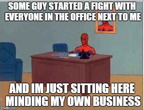 Spiderman Office Meme - spiderman computer desk meme imgflip