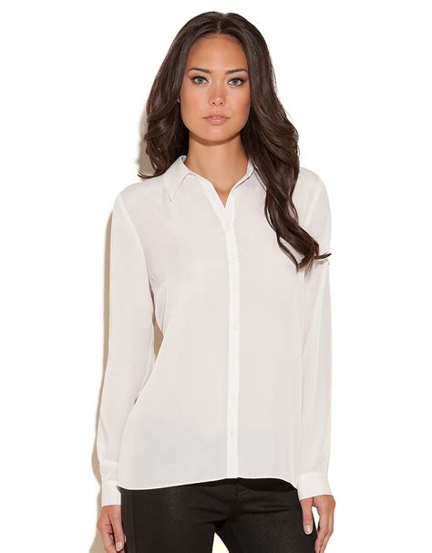 open blouses guess longsleeve blouse with accordion pleats in white