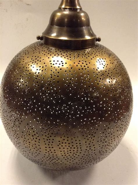 moroccan punched metal l moroccan hanging pendant lantern perforated metal brass