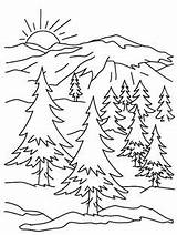 Coloring Pages Mountains Mountain Drawing Crafts Adult Easy Printable Books sketch template