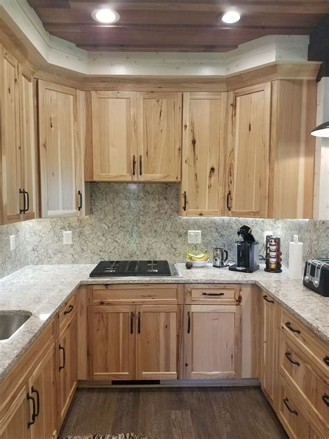 used kitchen cabinets with countertops rustic hickory cabinets with quot intermezzo quot quartz