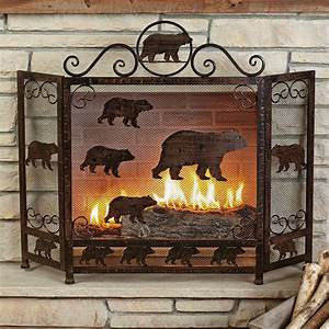 Rustic, Fireplace, Screens, Rust, Finish, Bear, Fireplace, Screen