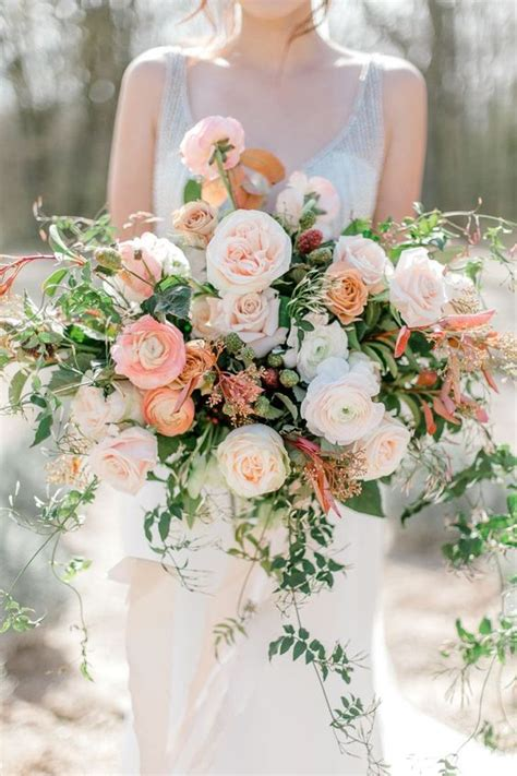 wedding wednesday peach bridal bouquet inspiration