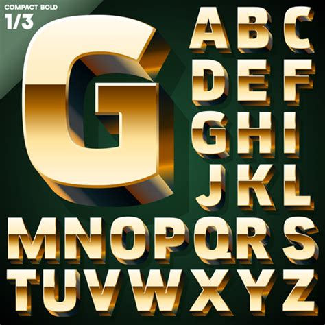 gold lettering font 3d gold alphabet vector graphic welovesolo 29929