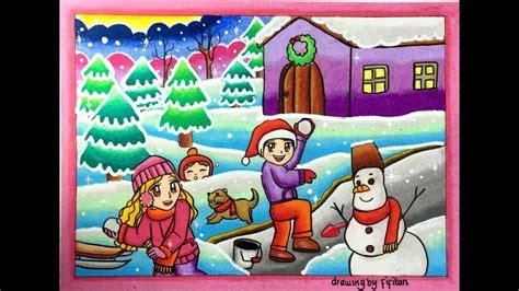 menggambar pemandangan bersalju winter