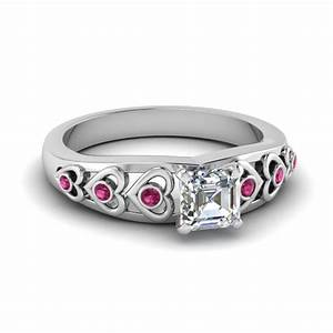 Asscher cut heart design diamond accent engagement ring for Wedding ring sets with sapphire accents