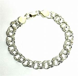 "925 sterling silver 10.8g ladies charm bracelet 7"" womens ..."