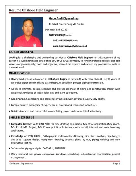 ofshore profesional sumary in resume resume offshore field engineer