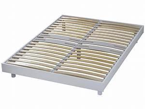 Sommier À Lattes Conforama : cadre lattes 140x190 cm newsomkit coloris blanc vente ~ Dode.kayakingforconservation.com Idées de Décoration