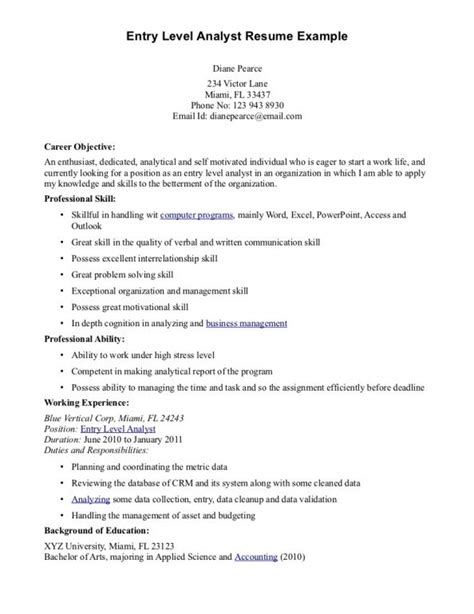 entry level resume objective examples resume resume