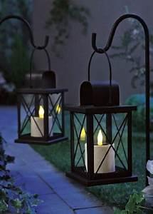 Laterne Garten Kerze : 2 solar laterne schwarz gartenlaterne licht garten ~ Lizthompson.info Haus und Dekorationen