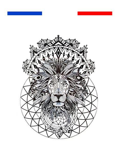 tatouage temporaire tete de lion tribal boheme afrique