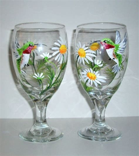hand painted tea glasses  wine glasses hummingbird