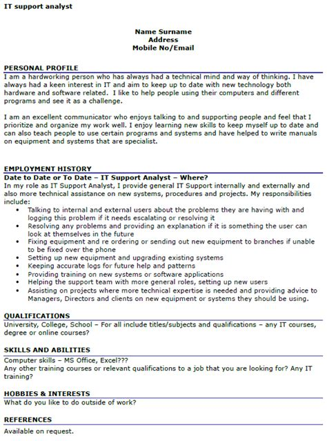 Technical Support Cv Sle by It Support Analyst Cv Exle Icover Org Uk